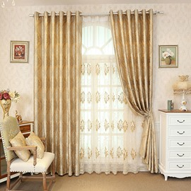 Embroidery Floral European Style 2 Colors Drapes Sheer for Room
