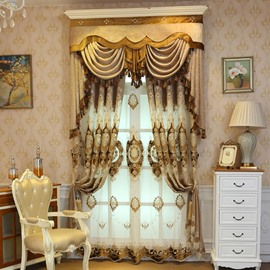 Embroidery Noble Luxury Golden Curtain Living Room and Bedroom Decorative Custom Sheer Curtain