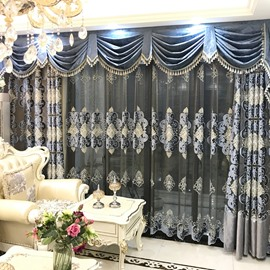 Luxury and Elegant Blue Curtain Living Room and Bedroom Decorative Custom Sheer Curtain