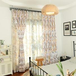 Breathable and Decorative Vivid Printed Pastoral Style Beautiful Shading Sheer Curtain