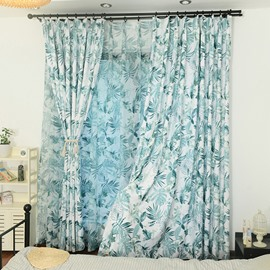 Breathable and Decorative Vivid Blue Printed Pastoral Style Beautiful Shading Sheer Curtain