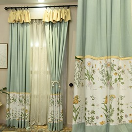 Pastoral Style Exquisite Embroidery Flowers Pattern Custom Sheer Curtain