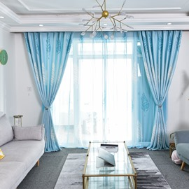 Breathable and Decorative Vivid Blue Sheer Curtain
