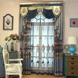 Embroidered Rustic Elegant Grommet Semi Sheer Curtains