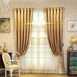 Embroideied European Style Living Room Luxury Sheer Curtains