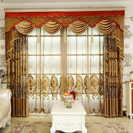 Royal Design Embroidery Brown Sheer Curtain for Living Room