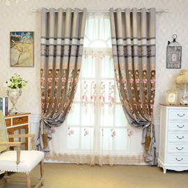 Pastoral Decoration Embroidery Sheer Curtain