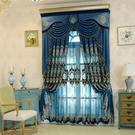 Thick Embroidery European Blue Drapes Sheer Curtain for Living Room