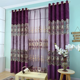 Decoration Deep Purple Floral Sheer Curtain