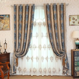 Decoration Classic Embroidered Grommet Top Sheer Curtain