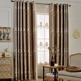 Embroidery Modern Decoration High Quality Grommet Top Sheer Curtain
