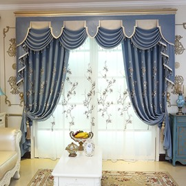 Decoration Fresh Style Floral Embroidery Custom Living Room Sheer Curtain