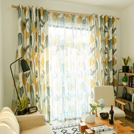 Blackout Fresh Style Leaf Custom Living Room Sheer Curtain