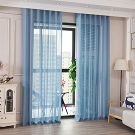 Blue Solid Sheer Curtains 2 Panels Grommet Top