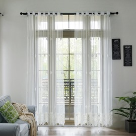 Colored Solid White Panels / Drapes with Grommet Top