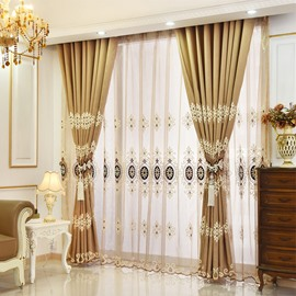 2-Pieces High Quality Jacquard Grommet Top Sheer Curtain
