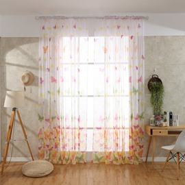 Decorative and Shading Elegant Butterflies Printed Polyester Sheer Curtain and Drapes