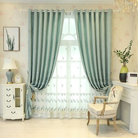 Decoration and Blackout River Blue Embroidered Flowers Sheer Curtains
