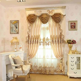 Beige Bright Color Embroidered Floral Decorative Custom Sheer Curtains