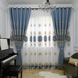Modern Simple Style European Decorative Embroidered Sheer Curtain