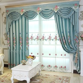 American Country Style Classy Polyester Decorative Embroidered Custom Sheer Curtains for Living Room