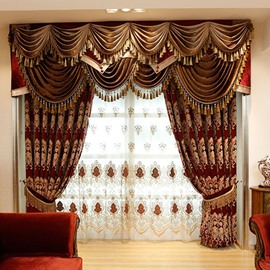 Luxury Chiffon Embroidered Semi Sheer Curtains Grommet Top for Living Room and Bedroom