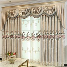European Living Room Embroidered Chenille 2 Panels Blackout Custom Sheer Curtains