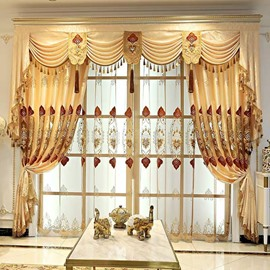 Luxury Gold Floral Embroidery Sheer Curtains for Living Room Custom 2 Panels Breathable Drapes No Pilling No Fading No off-lining