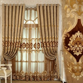 European Luxury Embroidery Sheer Curtains Decoration Window Screening for Living Room Bedroom Custom 2 Panels Breathable Voile Drapes No Pilling No Fading No off-lining