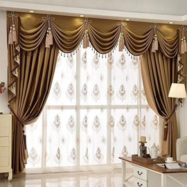 European Elegant Sheer Curtain Window Screening for Living Room Bedroom Decoration Custom 2 Panels Breathable Voile Drapes No Pilling No Fading No off-lining