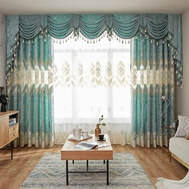 European Embroidered Plant Pattern Sheer Curtain Window Screening for Living Room Bedroom Decoration Custom 2 Panels Breathable Voile Drapes No Pilling No Fading No off-lining