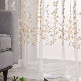 Modern Romantic Embroidery Flowers Sheer Curtains for Living Room Bedroom Polyester Custom 2 Panels Breathable Voile Drapes No Pilling No Fading No off-lining