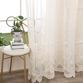 Modern Romantic Embroidery White Sheer Curtains for Living Room Bedroom Polyester Custom 2 Panels Breathable Voile Drapes No Pilling No Fading No off-lining