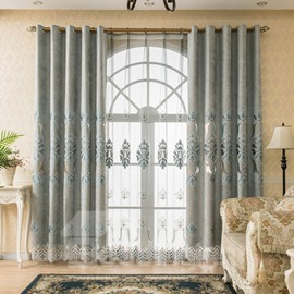 European Luxury Embroidered Sheer Curtains for Living Room Bedroom Custom 2 Panels Breathable Voile Drapes No Pilling No Fading No off-lining