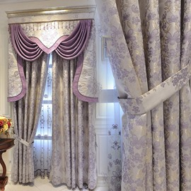 European Luxury Purple Embroidery Sheer Curtains for Living Room Bedroom Custom 2 Panels Breathable Voile Drapes No Pilling No Fading No off-lining Polyester