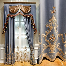 European Luxury Embroidery Sheer Curtains for Living Room Bedroom Custom 2 Panels Breathable Voile Drapes No Pilling No Fading No off-lining Polyester