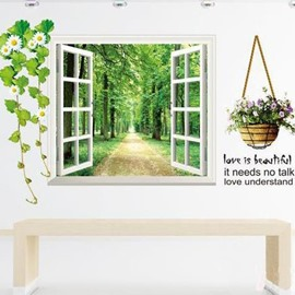 Green Forest Surrounding Path and Flower Basket 3D Window Wall Sticker Set