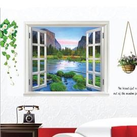 Mountains Surrounding River and Flower Basket 3D Window Wall Sticker Set
