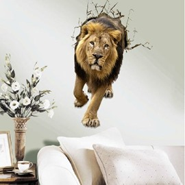 Verisimilar Amazing Decorative Walking Lion Pattern 3D Wall Sticker
