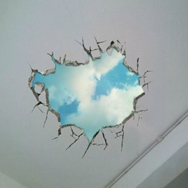 Creative Amusing Stunning Stylish 3D Broken Wall Sky Scenery Wall Sticker