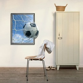 Elegant 3D Football Entering the Goal Pattern Wall Sticker