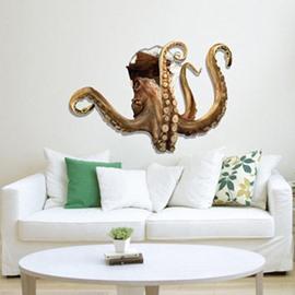 Amazing Decorative Octopus Through Hole 3D Wall Sticker