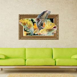 Amazing Rectangle Lovely Fishes Pattern 3D Wall Stickers