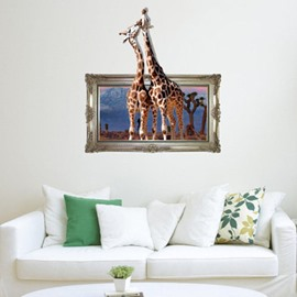 Romantic Lovely Two Giraffes Print Decorative 3D Wall Sticker