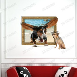 Amazing Style Creative 3D Quarrelling Dogs Wall Sticker