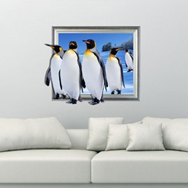 Fresh Style Lovely Cute Penguins Pattern Decorative 3D Wall Sticker