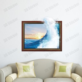 Amazing Beautiful 3D Waves of the Sea Wall Sticker