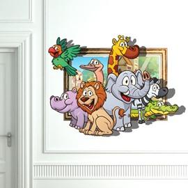 Amazing 3D Animal Family Design Wall Sticker