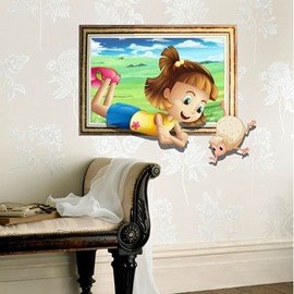 Amazing Creative 3D Pretty Girl Design Wall Sticker
