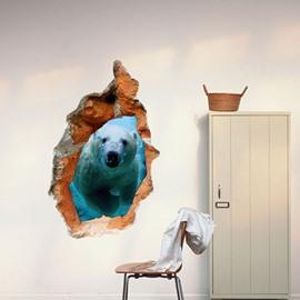 Elegant Creative 3D Polar Bear Hole Design Wall Sticker